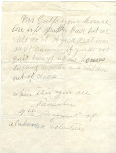 threatening note from Alabama soldier