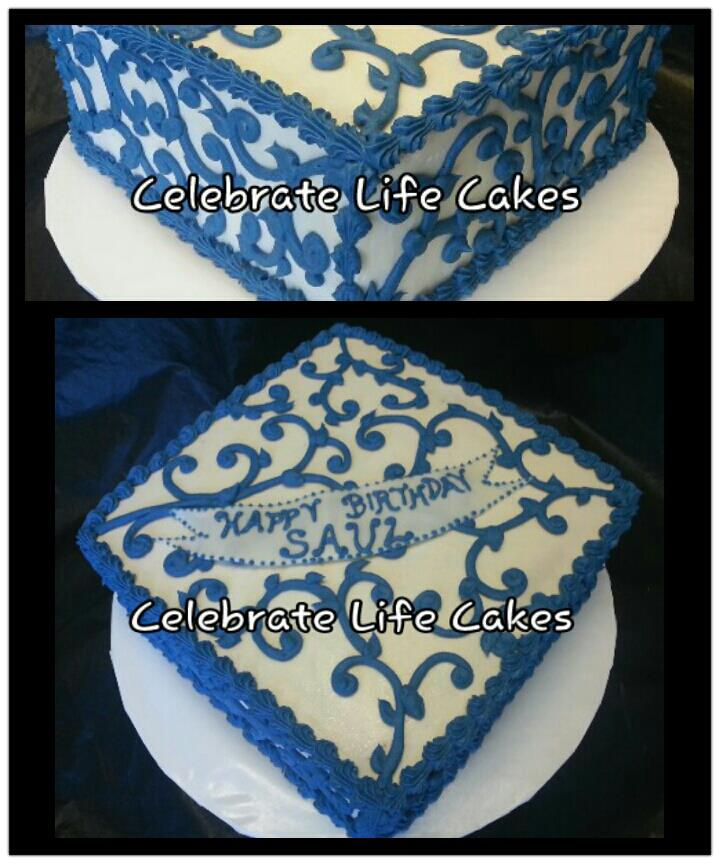 Masculine Blue Scrolls Birthday Cake Celebrate Life Cakes
