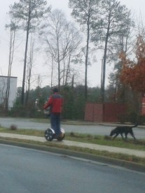 """Walking"" his dog"