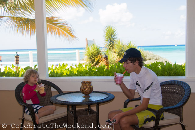 Kids are taking a break from the sun in Turks and Caicos. We took a taxi to the further out hotel's beach.