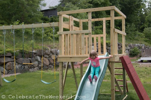 On her very own and very new play set, built by Dad