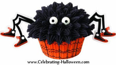 Spider wearing Gym Shoes - Halloween Cupcake Decorating Idea