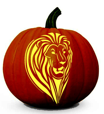 Lion Face - Halloween Pumpkin Carving Stencil