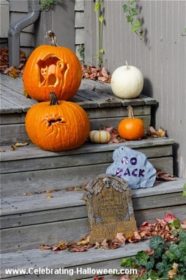Halloween Front Steps Decoration with Carved Pumpkins