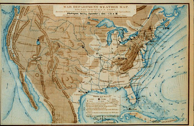 NOAA 200th  Foundations  Aviation Weather Forecasting  Signal     Signal Service weather map from September 1  1872