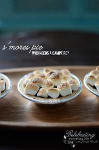 s'mores Pie recipe, mini s'mores pie, smores pie, mini chocolate pudding pie, broiled marshmallows, no campfire needed, indoor camping food, kid friendly recipe, indoor camping fun