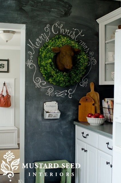Chalk Wall With Boxwood Wreath