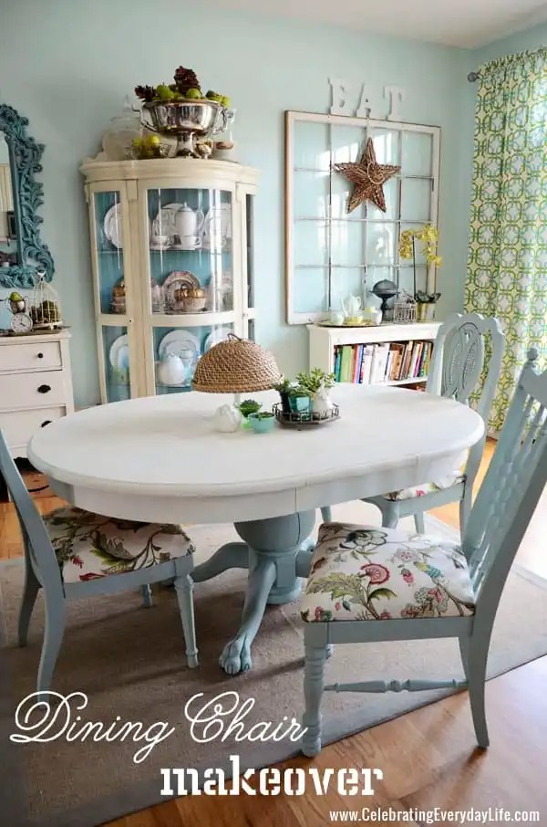 Dining Chairs makeover with Annie Sloan Chalk Paint, Old White Annie Sloan Chalk Paint, Duck Egg Annie Sloan Chalk Paint