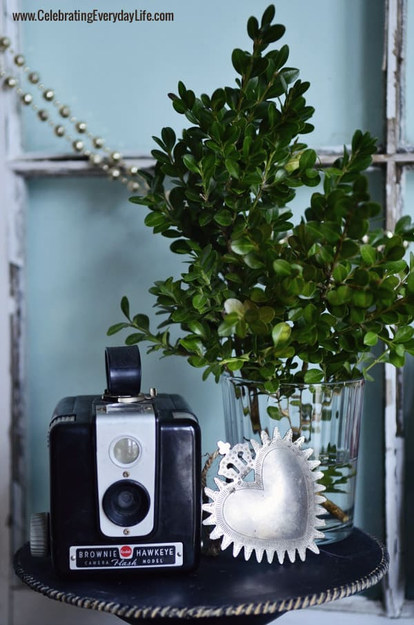 Brownie camera with sacred Heart ornament, Celebrating Everyday Life with Jennifer Carroll