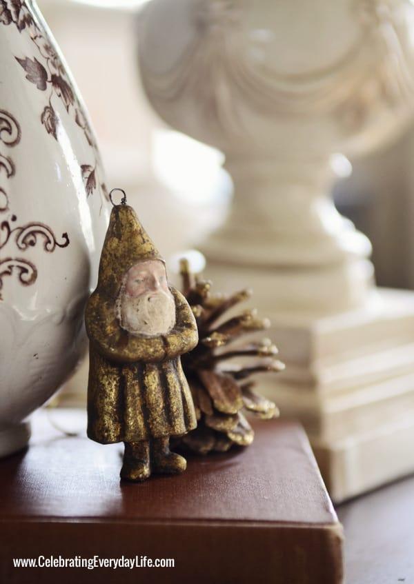 Gold Santa ornament, brown transferware pitcher, gold santa, Celebrating Everyday Life with Jennifer Carroll