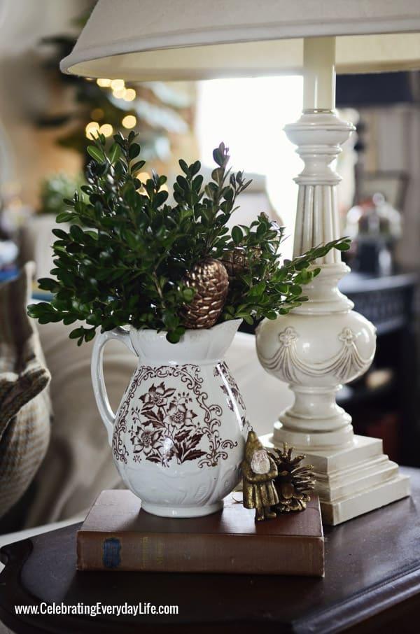 brown transferware pitcher, gold santa, Celebrating Everyday Life with Jennifer Carroll