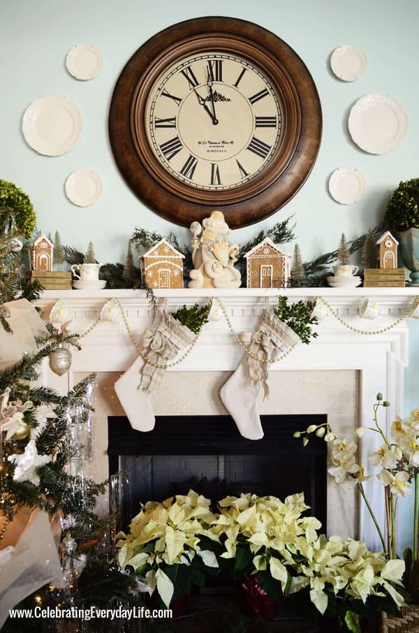Cream Christmas Mantel, Celebrating Everyday Life with Jennifer Carroll