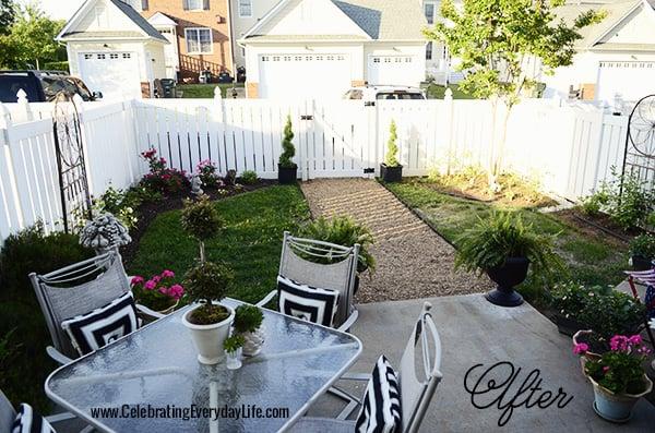 My backyard cottage garden, townhouse backyard makeover, Celebrating Everyday Life with Jennifer Carroll