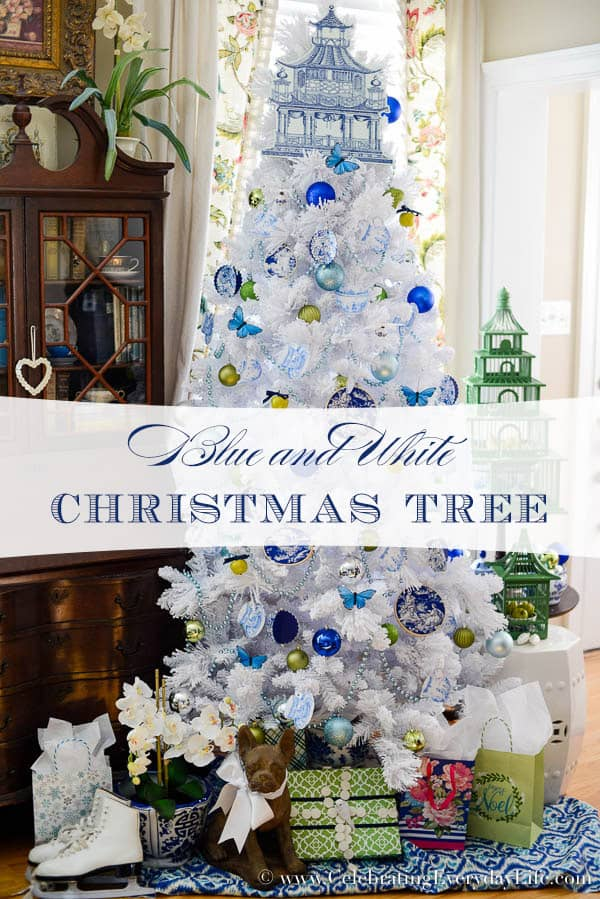 Blue U0026 White Christmas Tree, Flocked White Christmas Tree, DIY Christmas  Ornaments, Walmart