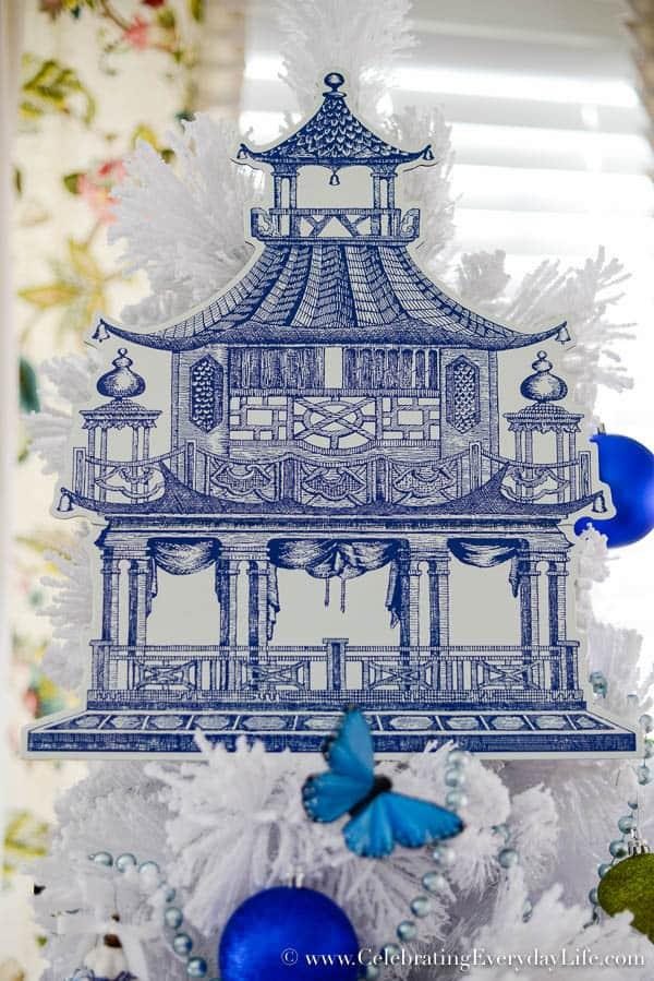 caspari die cut placemat caspari blue white pagoda blue white christmas tree