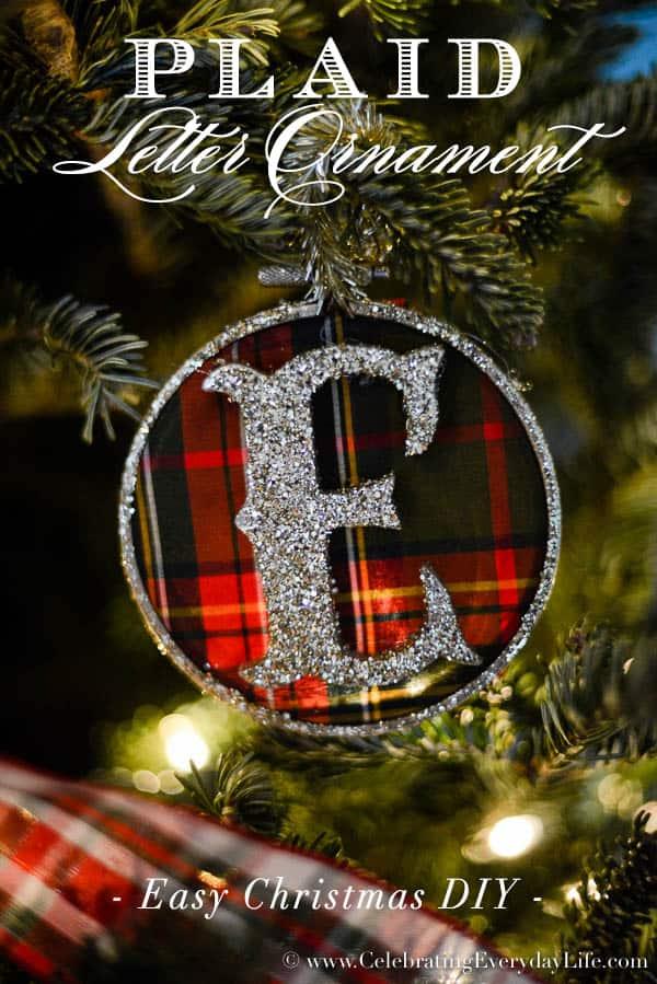 Plaid Letter Ornament DIY