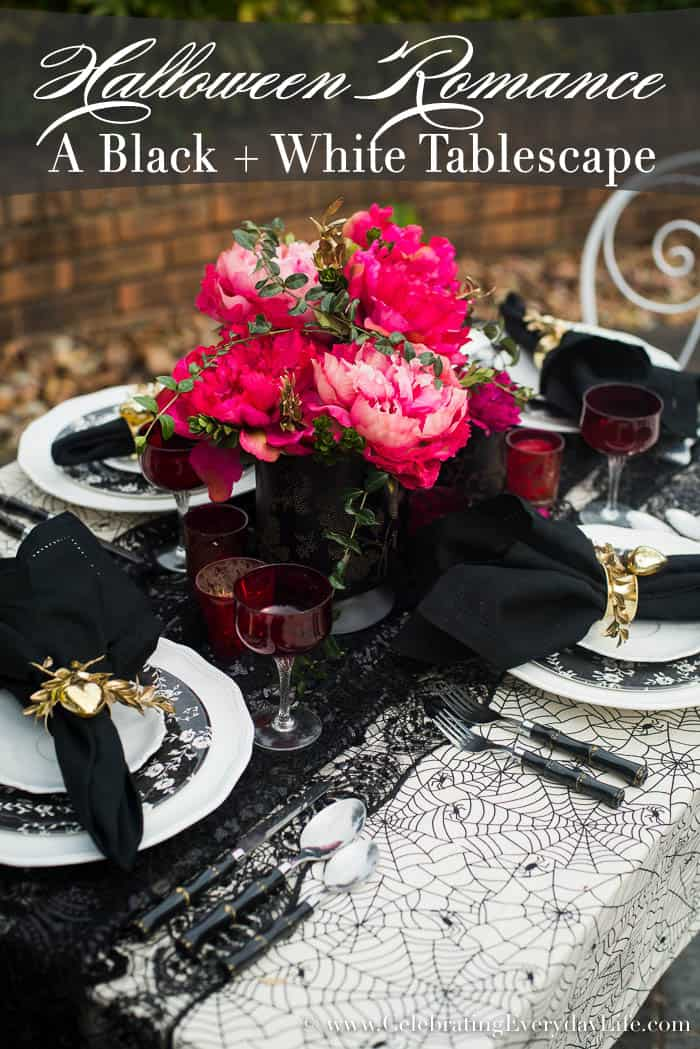 A Black and White Halloween Romance Tablescape