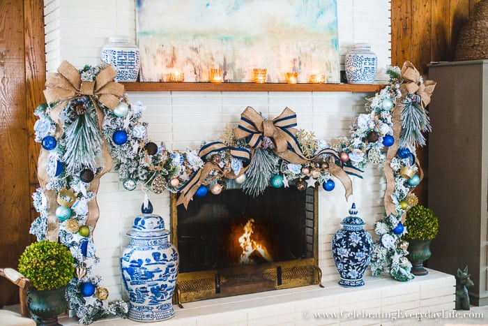 how to decorate a spectacular and cheap christmas garland blue white christmas garland
