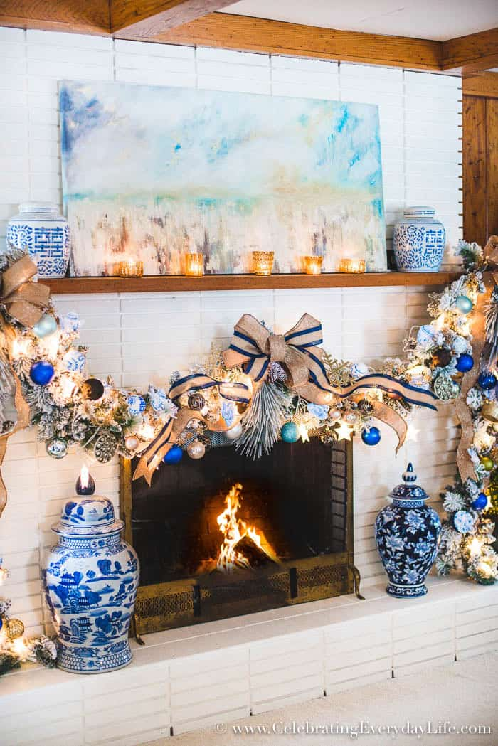 How to Decorate a Spectacular and Cheap Christmas Garland, Blue & White Christmas Garland, French Linen Blue and White Garland