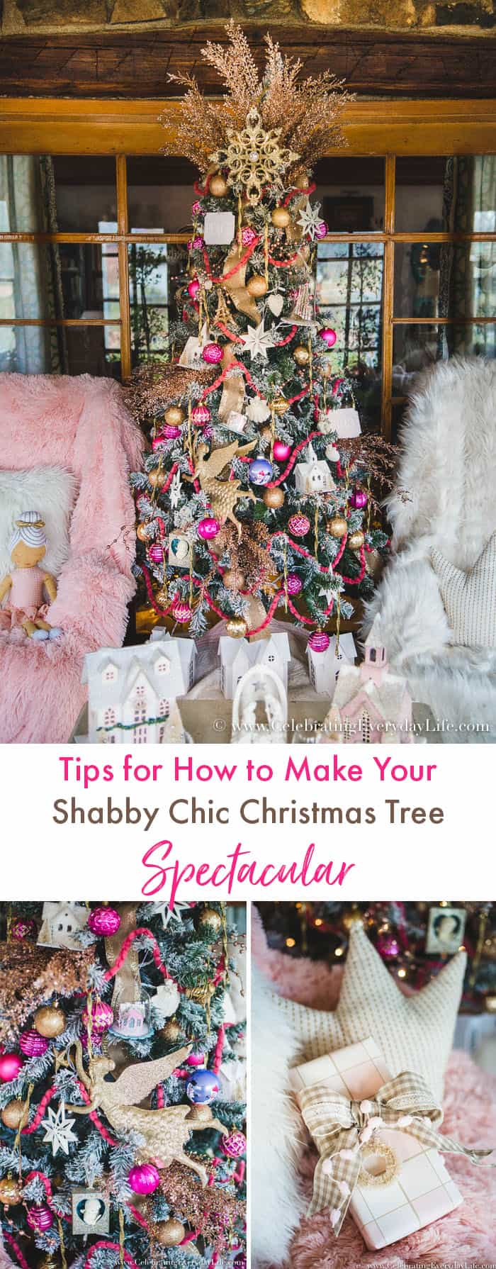 how to make your shabby chic christmas tree spectacular. Black Bedroom Furniture Sets. Home Design Ideas