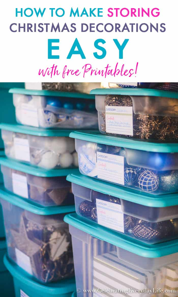 how to make storing christmas decorations easy with free printables home organization how to