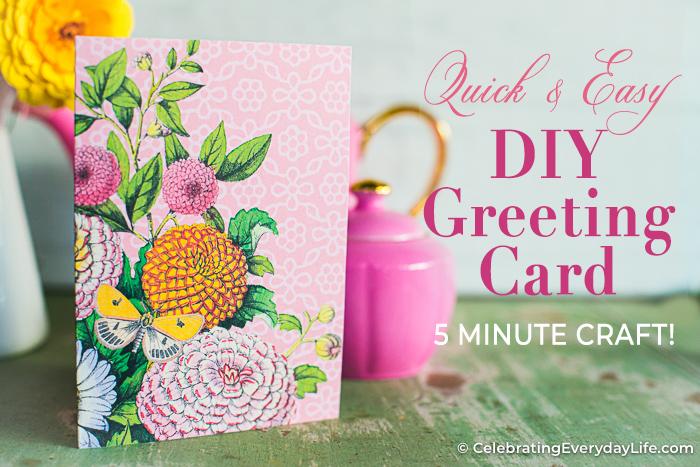 Easy Floral DIY Greeting Card Printable Tutorial