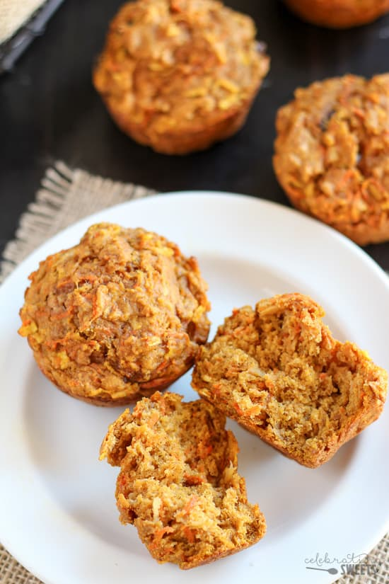 Healthy Pumpkin Carrot Apple Muffins - Tender, lightly spiced pumpkin muffins filled with shredded apples and carrots. Similar to pumpkin bread and carrot cake - but healthier!