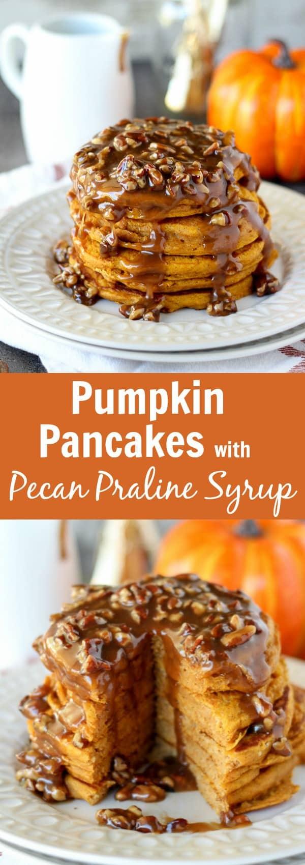 Pumpkin Pancakes with Pecan Praline Syrup