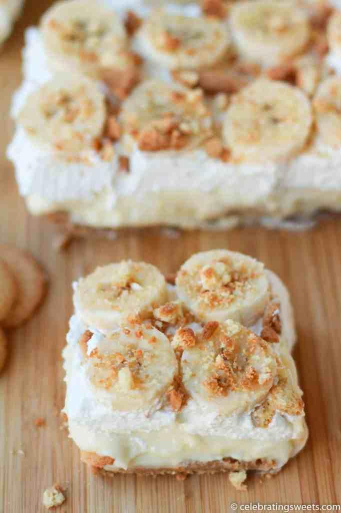 creamy banana pudding bars ~ celebratingsweets.com