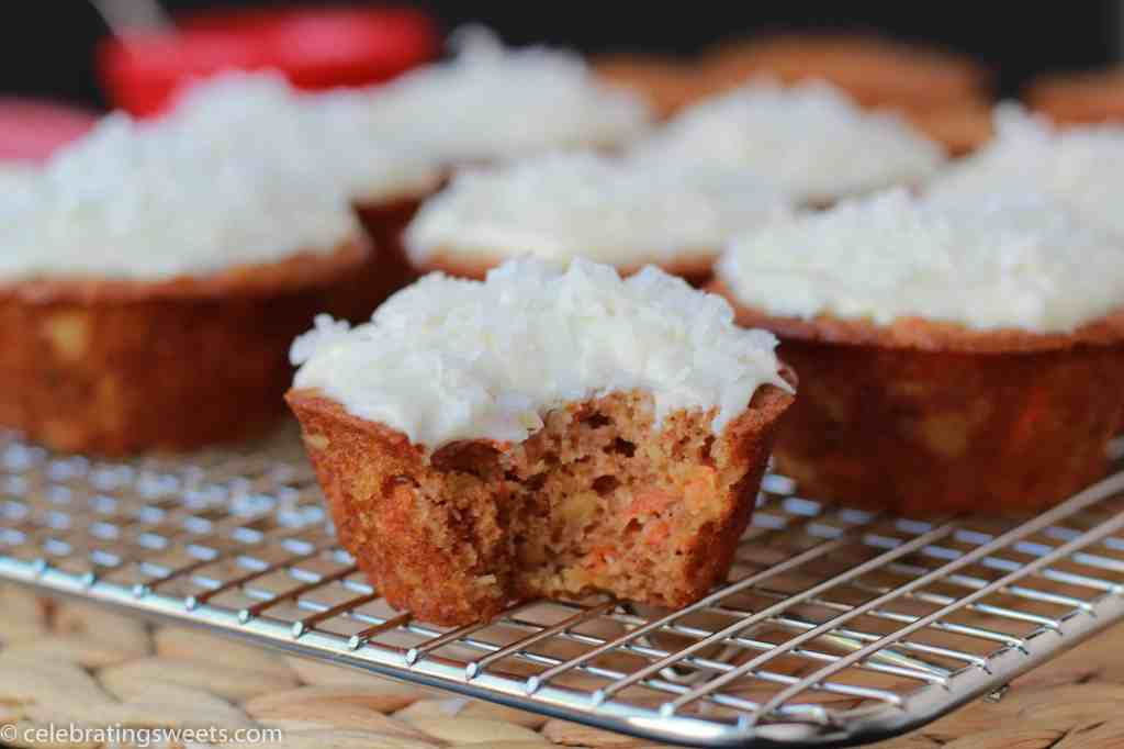 Light Carrot Cake Cupcakes - Celebrating Sweets
