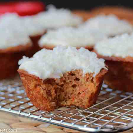 Light Carrot Cake Cupcakes with Cream Cheese Frosting