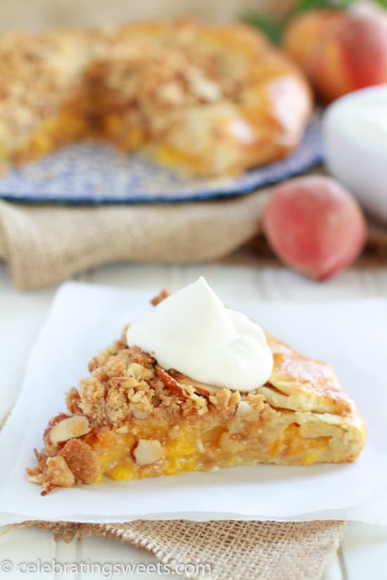 Rustic Peach Pie with Almond Crumble Topping - Simple, fresh, and delicious!