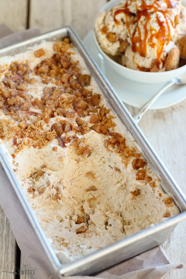 No Churn Apple Pie Ice Cream - Smooth and creamy ice cream filled with brown sugar, cinnamon, and tender apples. Tastes just like apple pie! No ice cream maker needed!