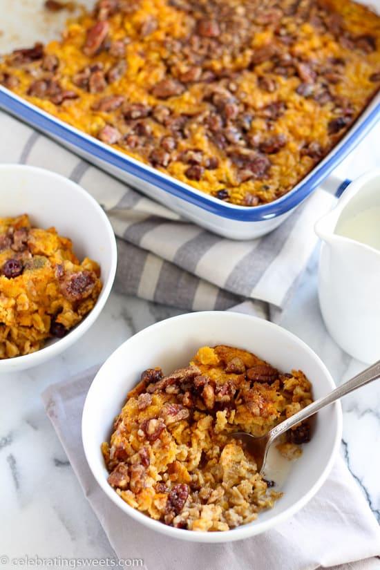 Spice Baked Oatmeal - Pumpkin, oats, brown sugar, cinnamon, pecans ...