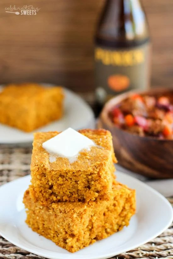Pumpkin Cornbread (with gluten free option) - An easy recipe for moist and tender homemade pumpkin cornbread.