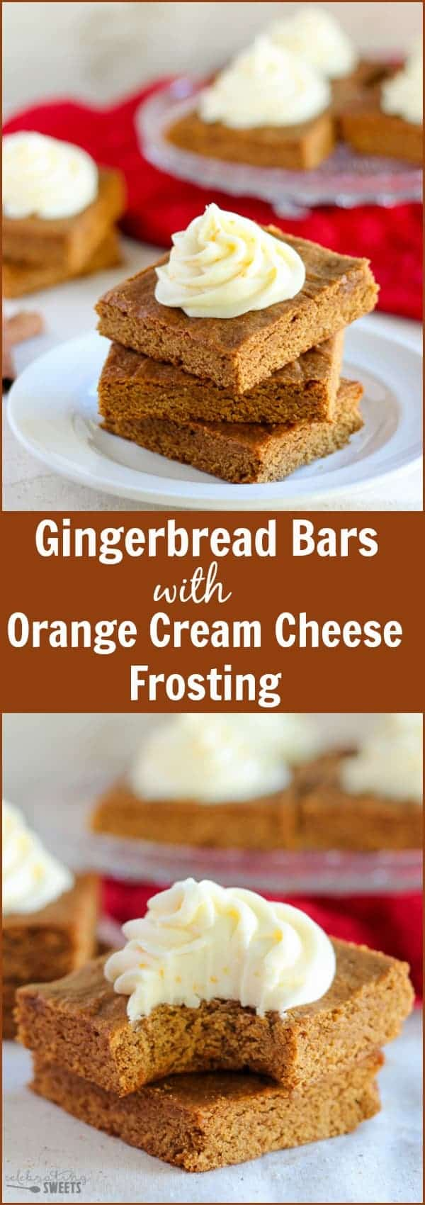 Chewy Gingerbread Bars with Orange Frosting
