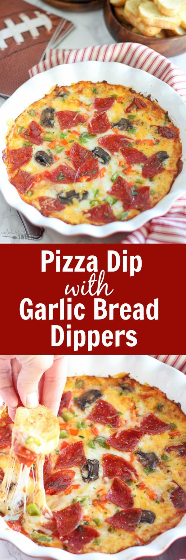 Pizza Dip with Garlic Bread Dippers - Warm and cheesy pizza dip filled with your favorite toppings and served with garlic bread for dipping. Perfect for game day!
