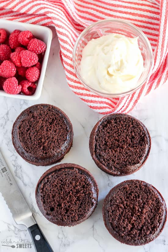 Mini Chocolate Cakes - Miniature chocolate cakes baked in ramekins and decorated with vanilla frosting. Serve as four single layer cakes or as two double layer cakes. Perfect for Valentine's Day, anniversaries or as a smash cake.
