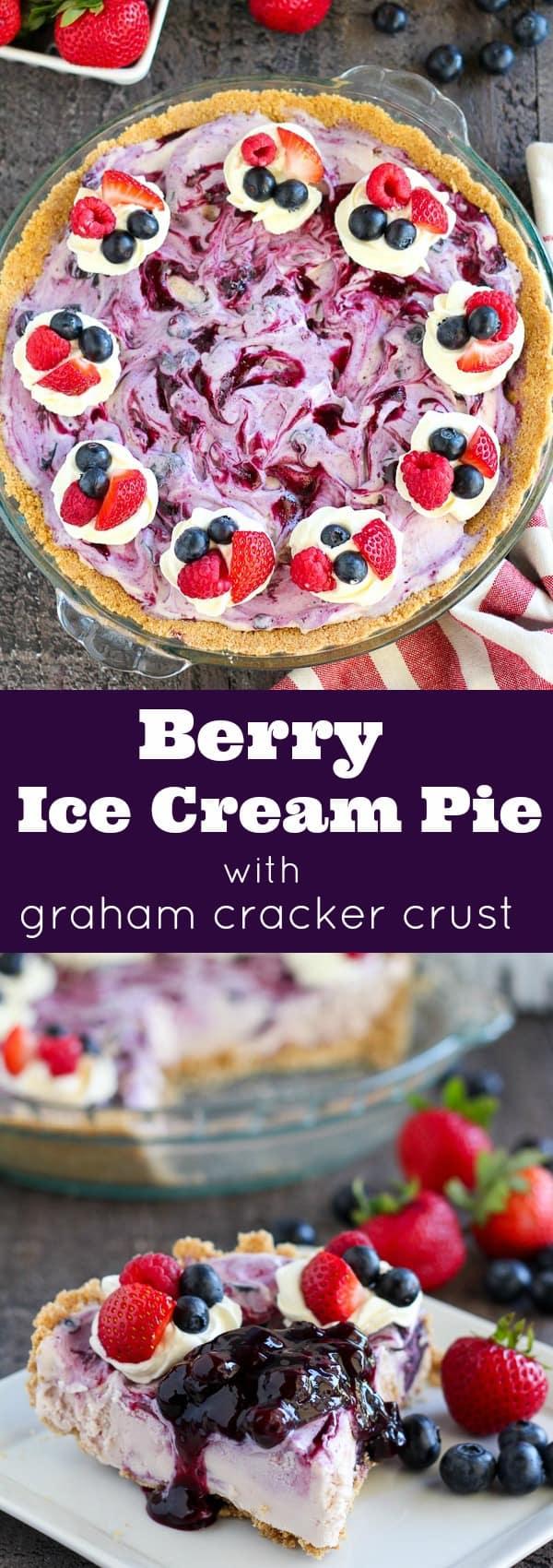 Berry Ice Cream Pie with Graham Cracker Crust
