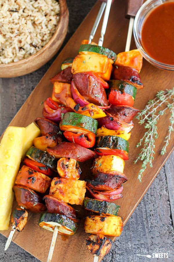 Grilled Sausage and Vegetable Skewers with Pineapple BBQ Sauce