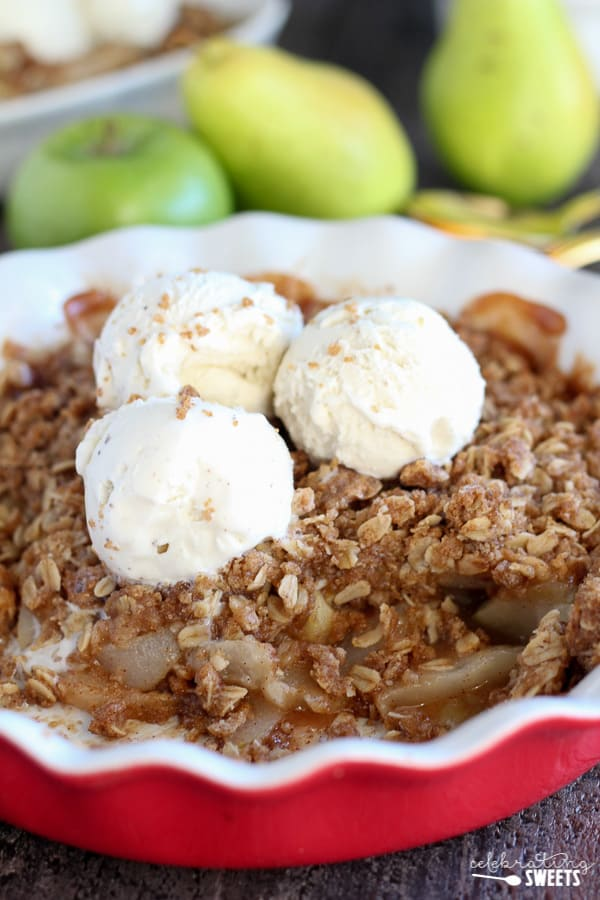 Apple Pear Crisp - Tender apples and pears baked with a brown sugar oat topping. Serve warm for the perfect fall or winter dessert