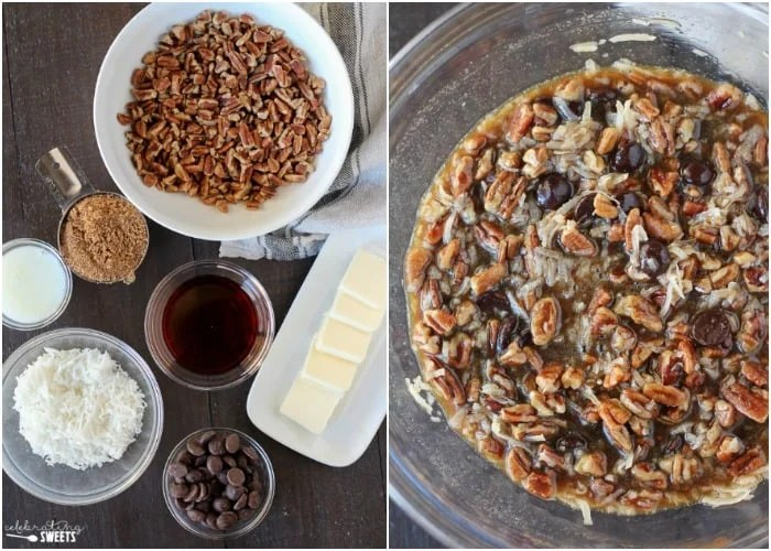 Chocolate Coconut Pecan Pie Bars - A brown sugar shortbread crust topped with a gooey maple filling that's loaded with pecans, shredded coconut and chocolate chips. Flavor and texture in every sweet and sticky bite!