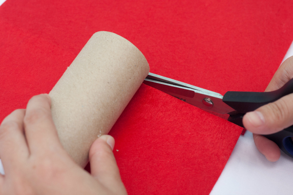 Cute Santa toilet paper roll craft - step 2
