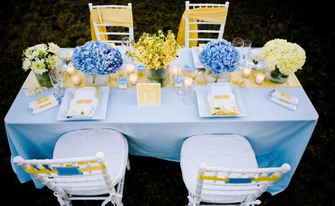 Blue Canary Yellow And Light Purple Middot Five Ideas On What Do To With Your Wedding Centerpieces