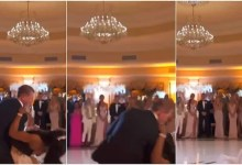Photo of Couple falls down while dancing on their wedding day
