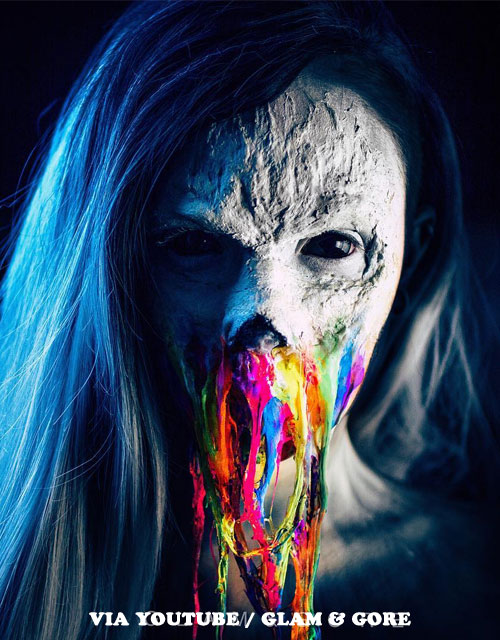 RAINBOW-NEON-ZOMBIE MAKEUP BLUE HAIR