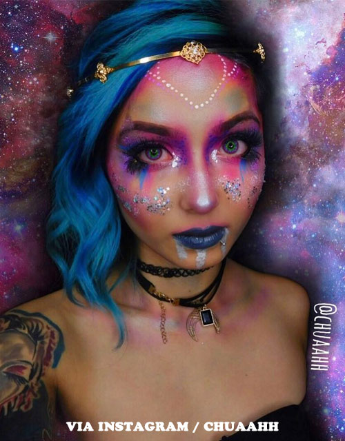 SPACE ALIEN PRINCESS MAKEUP BLUE HAIR
