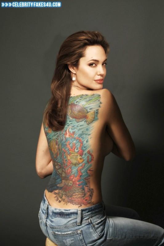 Angelina Jolie Fake, Nude, Sideboob, Tattoos, Tits, Porn