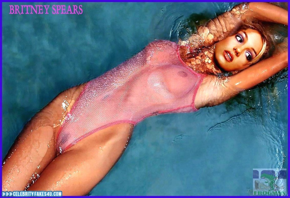 Britney Spears Fake, Naked Body, Pool, See-Thru, Tits, Wet, Porn