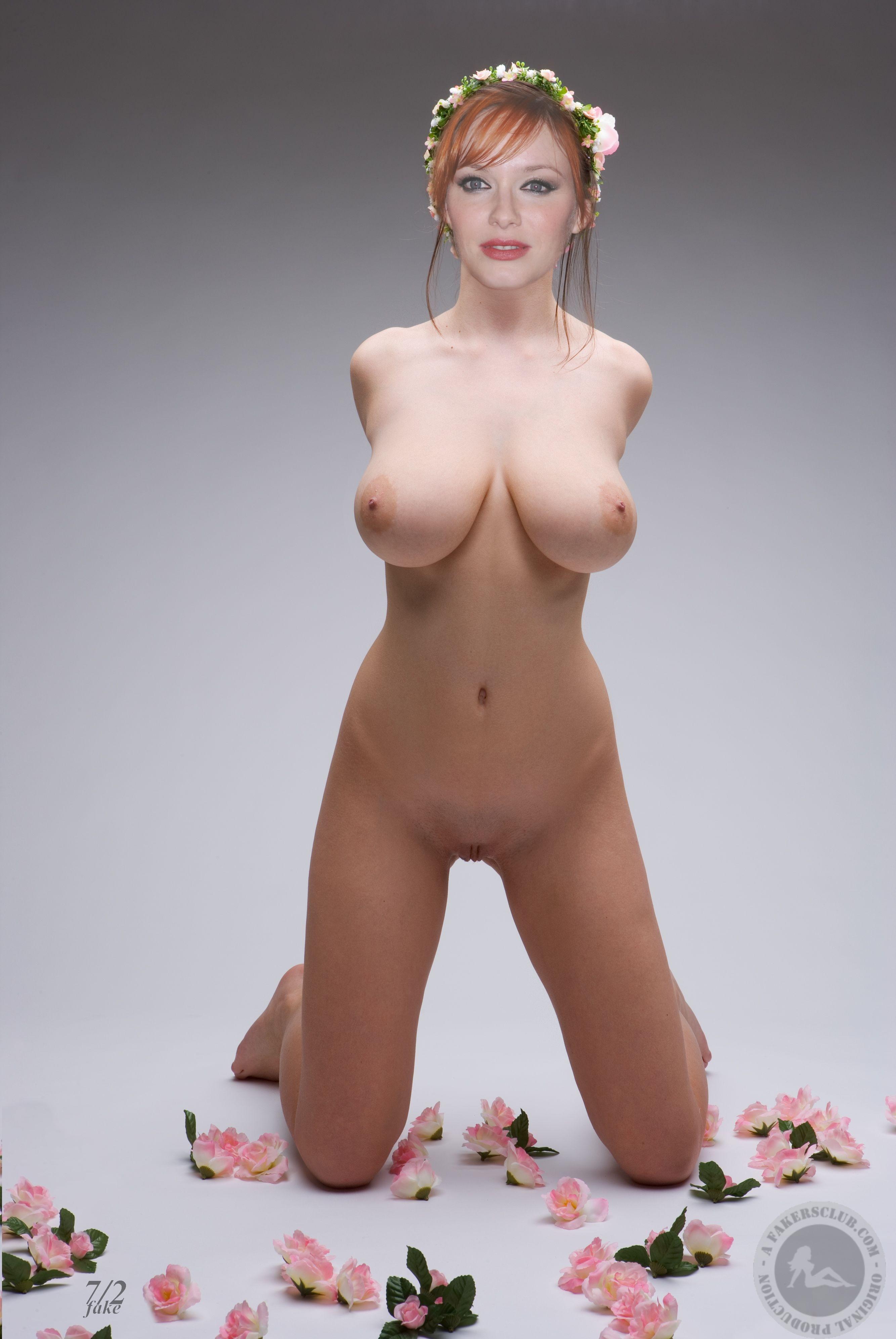 Christina Hendricks Nice Big Titties Sexy Nude Fake -5880